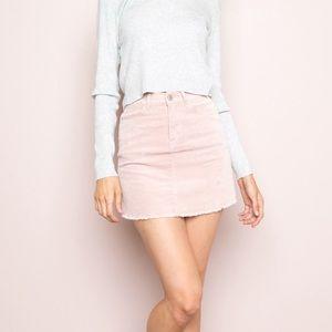 Brandy Melville Juliette Pink Corduroy Mini Skirt